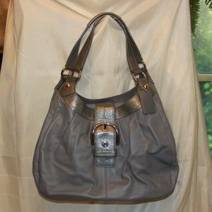 "COACH ""Lynn"" Soho F15075 Grey Leather Handbag Hobo"